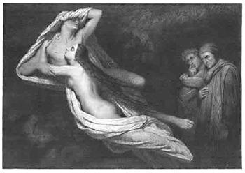 Francesca da Rimini, 1843, by Luigi Calamatta. Engraving.
