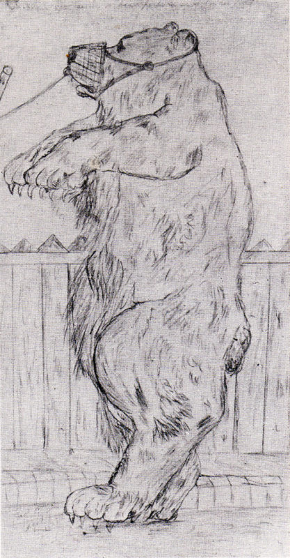 Dancing Bear, drawing 1902, by David Jones. By kind permission of the Trustees of the David Jones Estate.
