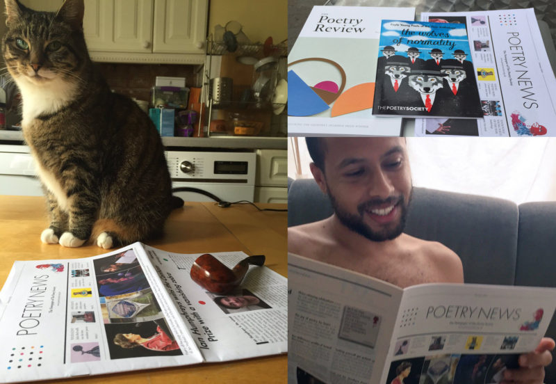Membership Pics - with cat, and Dean Atta reading Poetry News