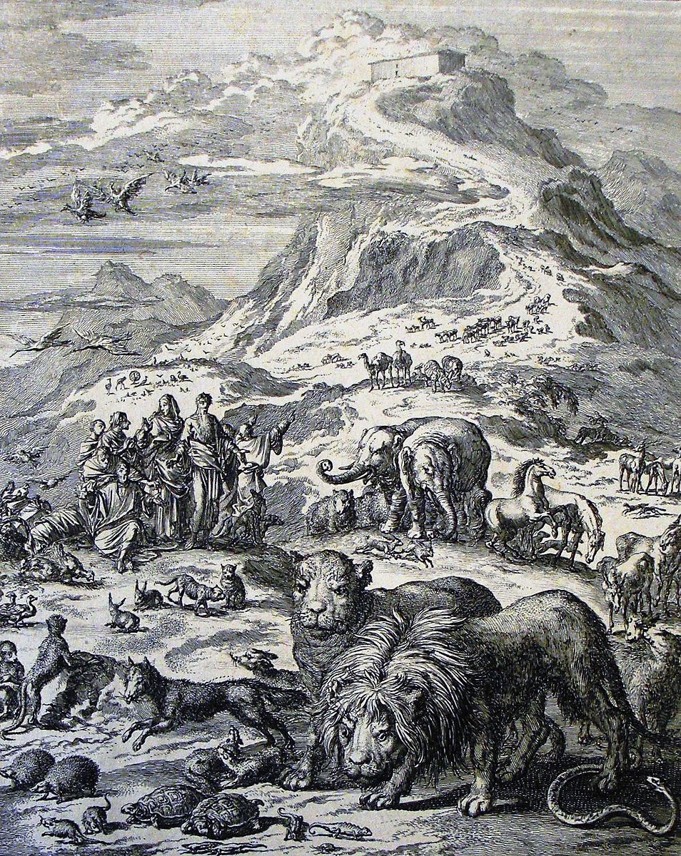Noah and his family come out of the ark by Jan Luyken, 1698.