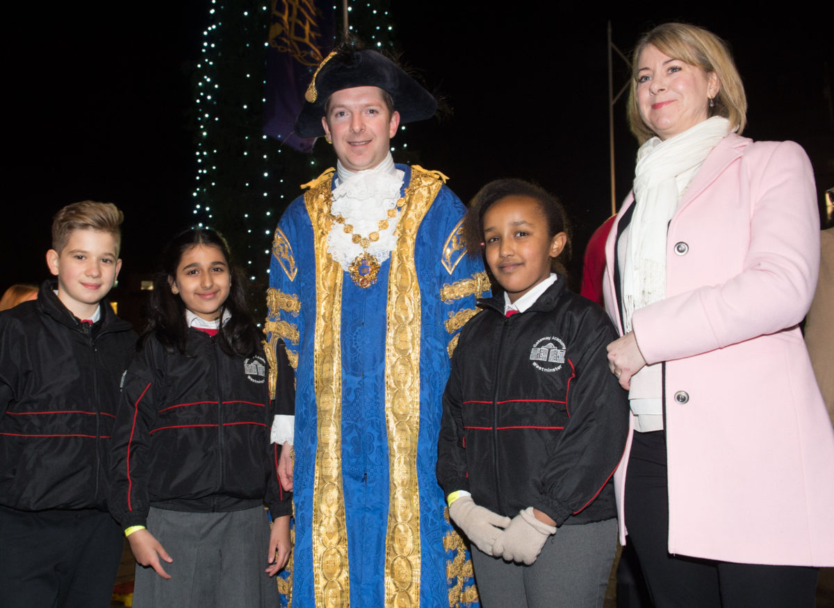 Children from Gateway Academy with Julia Copus and The Lord Mayor of Westminster, at the 2016 ceremony. Photo: Hayley Madden