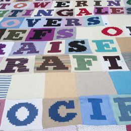 Detail of the knitted poem
