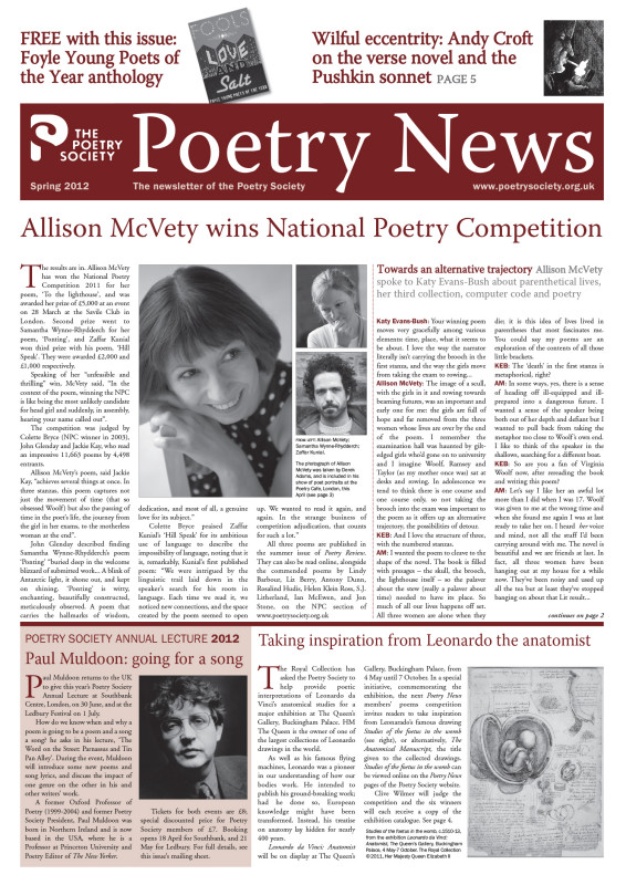 Poetry News Spring 2012