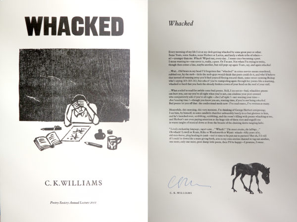 Whacked by C.K. Williams. Limited edition print.