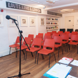 The Poetry Cafe basement with chairs