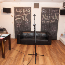 The Poetry Cafe basement with microphone