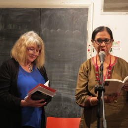Menna Elfyn and Rati Saxena read at the Poetry Café, June 2015