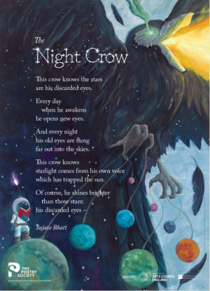 'The Night Crow' by Sujata Bhatt. Poster by The Poetry Society.