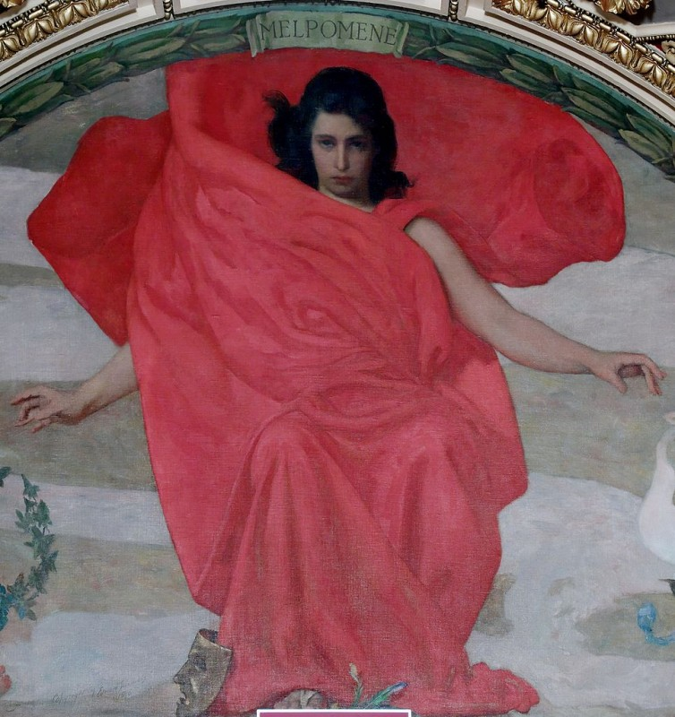 Melpomene by Edward Simmons.Mural, Thomas Jefferson Building, Washington, D.C., USA. Photo: Carol Highsmith.