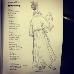 Children's Laureate Chris Riddell's drawing of 'Mr Grenway' by Riona Millar