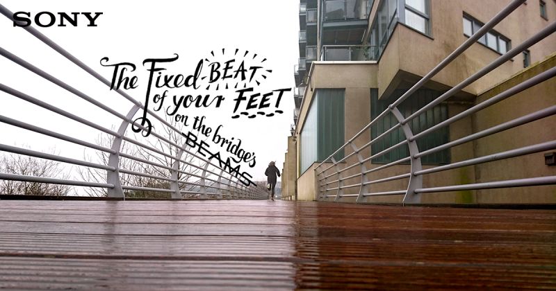 The fixed beat of your feet on the bridge's beams