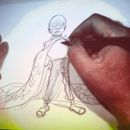 Chris Riddell drawing close-up at National Poetry Day Live