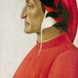 Dante Alighieri. Profile portrait in tempera by Sandro Botticelli, 1495.