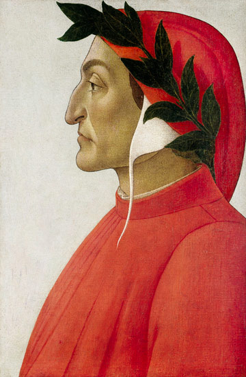 Dante Alighieri. Profile portrait in tempera by Sandro Botticelli, 1495.