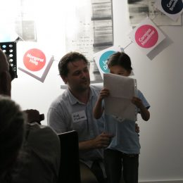 Niall O'Sullivan and his daughter perform a poem