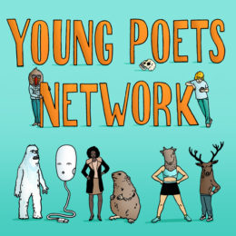 Young Poets Network logo, with characters like a yeti boy with hands on hip, a capybara, a yeti