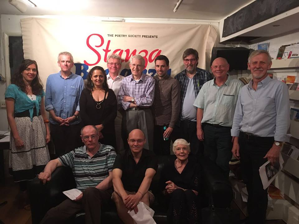 Julian Flanagan, second left, at Stanza Bonanza at the Poetry Cafe, 2016 - with members of the Barnes/Chiswick and Harrow Stanzas