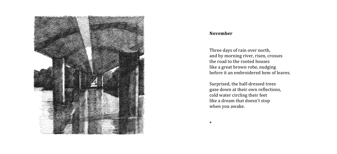 November, poem by Robert Powell with drawing by Jake Attree.