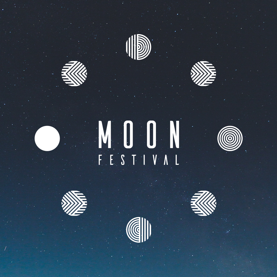 moon festival logo: square with dark night sky background and graphics of the moon around the Moon Festival