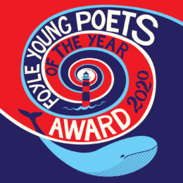 Foyle Young Poets of the Year Award 2020 logo (an illustration of a blue whale in a red and blue wave)