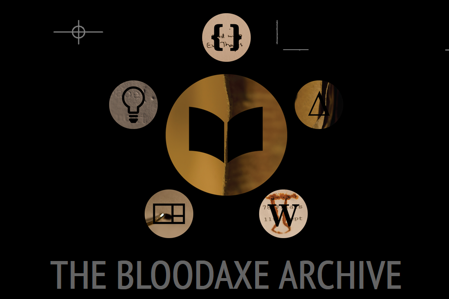 Image of the Bloodaxe Archive homepage: a circle in the centre with a book in it, surrounded by five circles: one with two square brackets, one with a triangle, one with a W, one with a segmented rectangle and one with a lightbulb