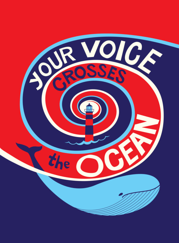 Anthology cover of Your Voice Crosses the Ocean: a red background with a deep blue wave swirling into the middle of the cover, and a smiling light blue whale in the wave at the bottom of the page