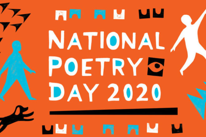 National Poetry Day 2020 Logo - white text on orange background
