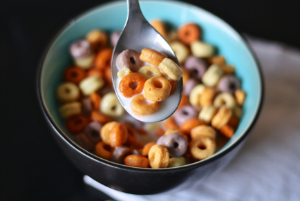 Bowl of cereal with a spoon
