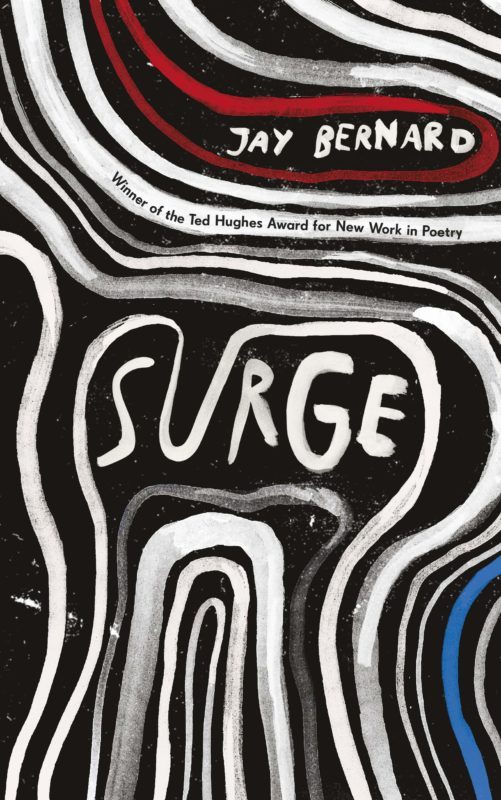 Black, white, red and blue cover of Surge