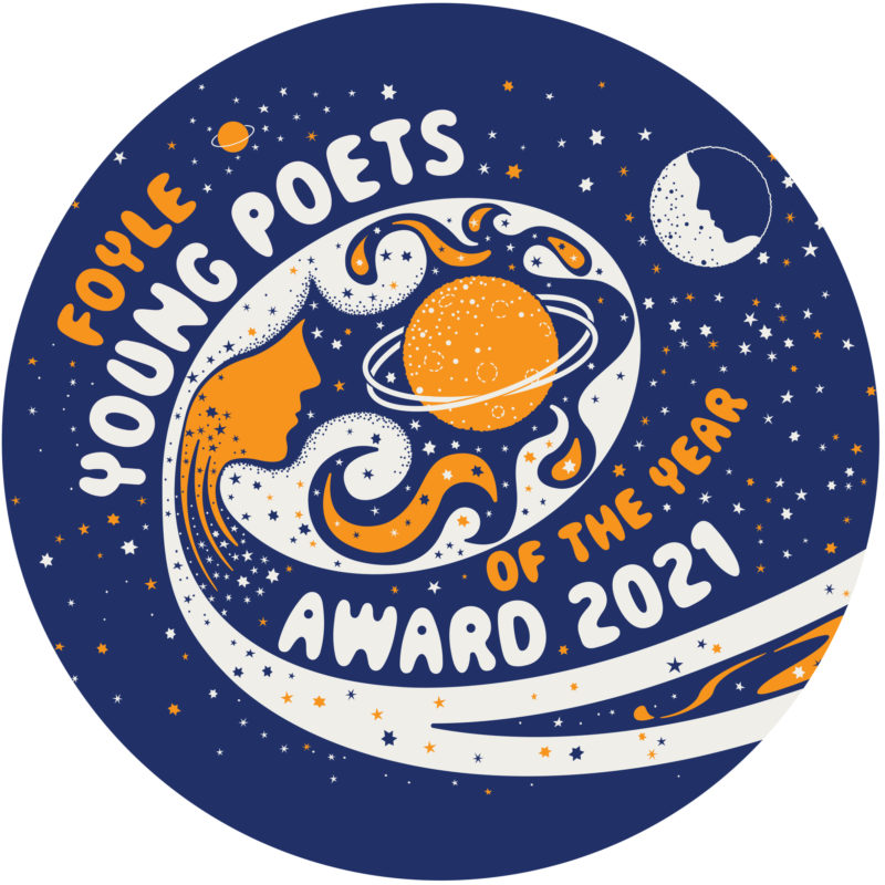 blue space scene with orange and white stars and planets, and the words ' You Speak in Constellations'