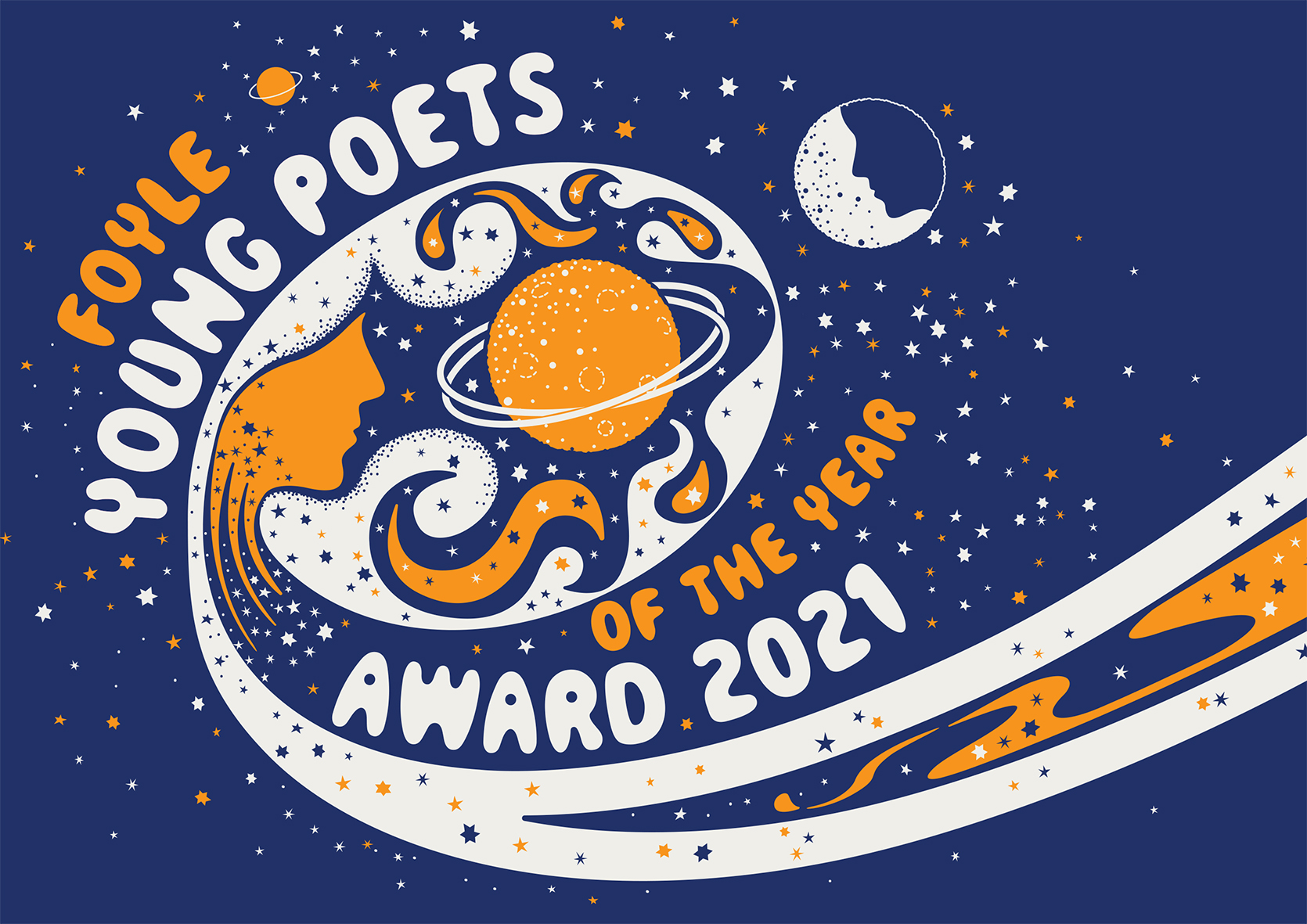 Artwork for Foyle Award 2021. Stars, planet, moon, and two faces in a constellation against a dark blue sky.