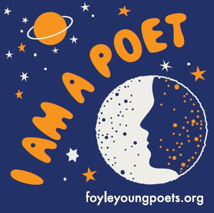 planet, stars, and face in a moon, with the words 'I am a poet'