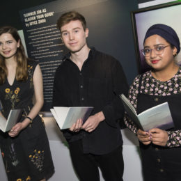 Abby Meyer, Jamie Hancock and Zainab Ismail, commended in the Melting Ice challenge in partnership with National Maritime Museum in 2017, performing their winning poems at an event celebrating the opening of the new Polar Worlds gallery, where anthologies of the winning and commended poems are freely available, and the first prize winning poem is part of the permanent exhibition