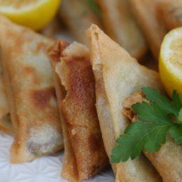 samosas with lemon and parsley
